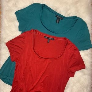 Lot of 2 WHBM Soft Touch Scoop Neck Tees